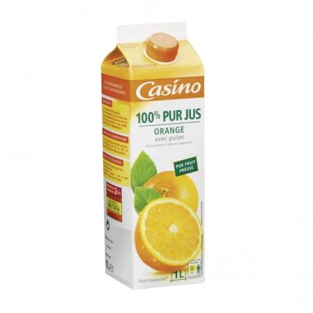 100% Pur Jus Orange pulpé Flash pasteurisé 1L CASINO