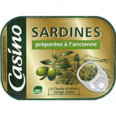 Sardines préparées à l'ancienne l'huile d'olive vierge extra 135g CASINO