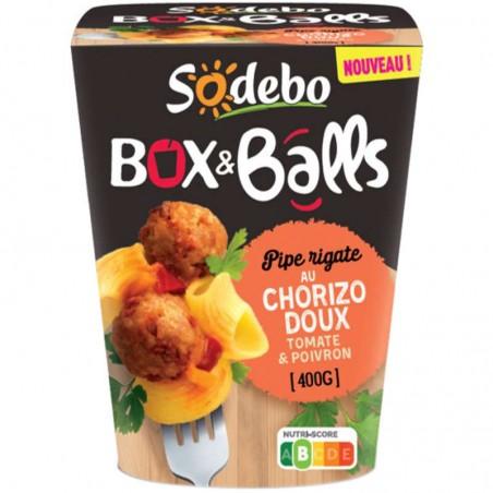 Box pipe rigate tomates poivrons chorizo 400g SODEBO